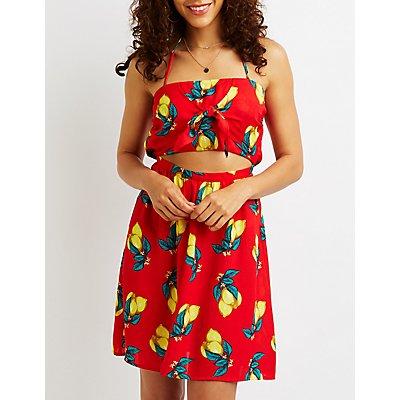 Lemon Cut Out Halter Dress