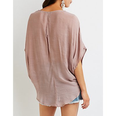 Twist Front Hi Low Tunic Top