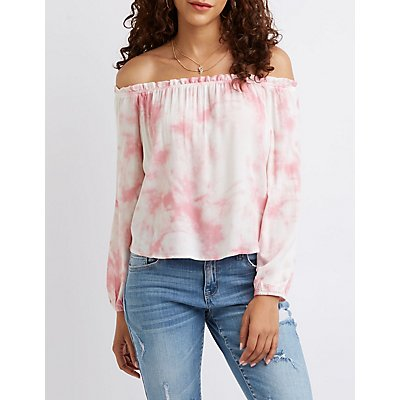 Tie Dye Off The Shoulder Top