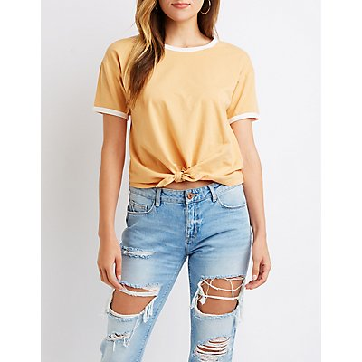 Knotted Ringer Tee by Charlotte Russe