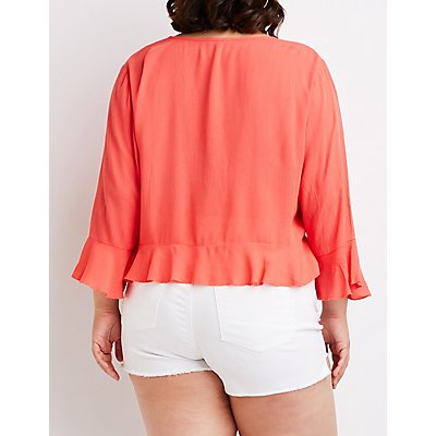 Plus Size V-Neck Cinched Top
