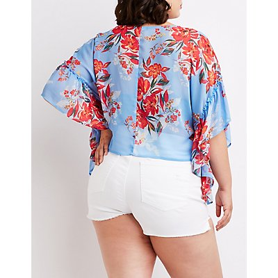 Plus Size Floral Ruffle Button Up Top