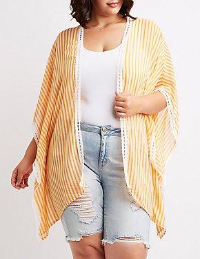 Plus Size Striped Crochet Kimono