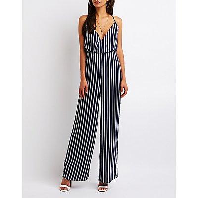 Striped Surplice Jumpsuit