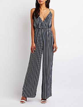 Striped Surplice Jumpsuit