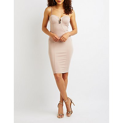 Notched Corset Bodycon Dress by Charlotte Russe