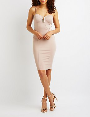 Notched Corset Bodycon Dress