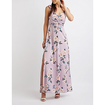Floral Ruched Maxi Dress by Charlotte Russe