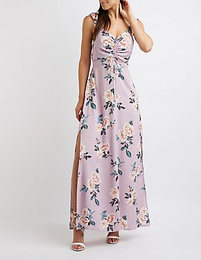Floral Ruched Maxi Dress