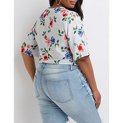 Plus Size Floral Striped Button Up Top