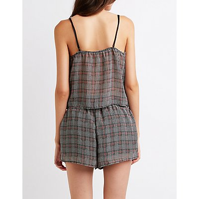 Houndstooth Print Tank Top
