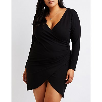 plus-size-wrap-bodycon-dress by charlotte-russe