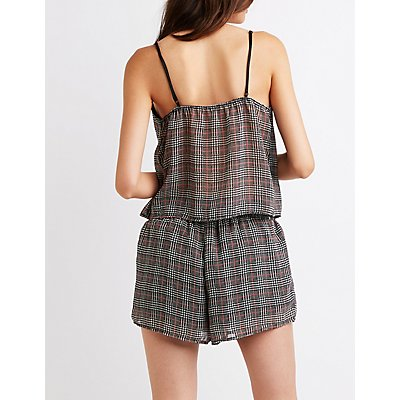 Houndstooth Print Shorts