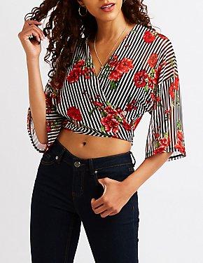 Floral Stripe Tie Front Top