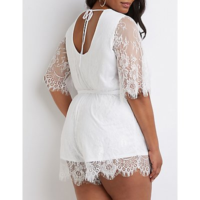 Plus Size Floral Lace Wrap Romper