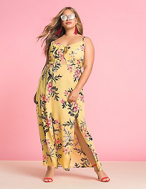 Plus Size Floral Tie Front Maxi Dress