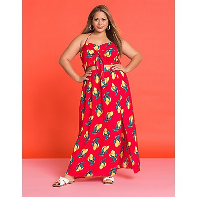 Plus Size Lemon Cut Out Maxi Dress