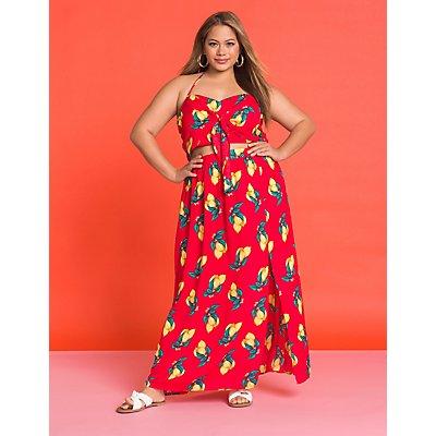 Plus Size Lemon Cut Out Maxi Dress