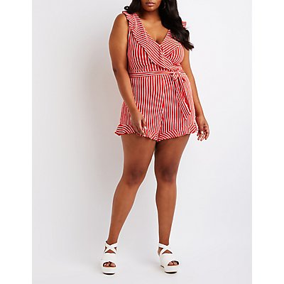 Plus Size Striped Wrap Romper