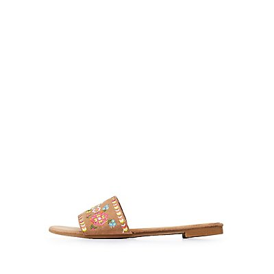 Bamboo Faux Suede Slide Sandals