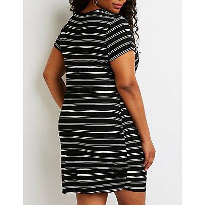 Plus Size Striped Baddie Shirt Dress