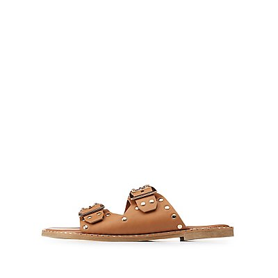 Bamboo Double Buckle Slide Sandals