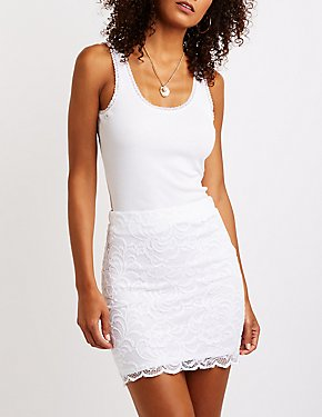 Scalloped Lace Bodycon Mini Skirt