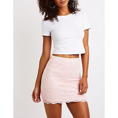 Scalloped Lace Bodycon Mini Skirt
