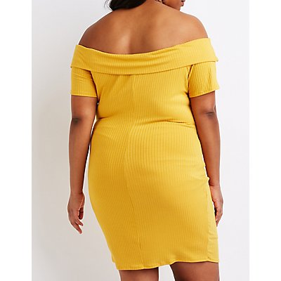 Plus Size Off The Shoulder Cut Out Dress