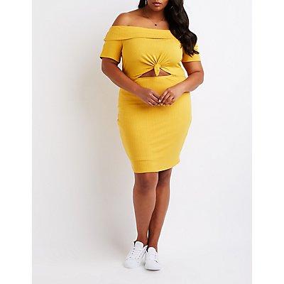 Plus Size Off The Shoulder Cut Out Dress