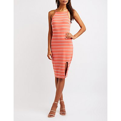 Srtriped Bib Neck Dress