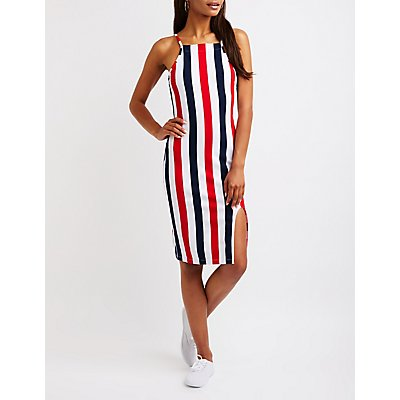 Striped Bib Neck Dress