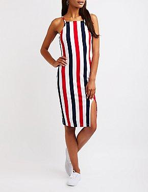 Striped Bib Neck Dress