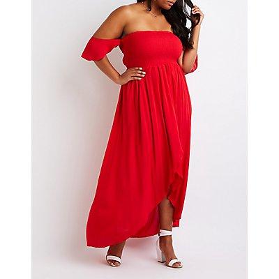 Plus Size Off The Shoulder Maxi Dress