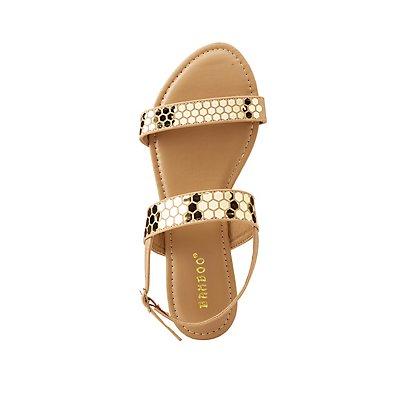 Bamboo Metallic Trim Flat Sandals