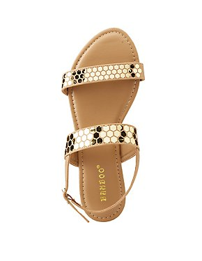 Bamboo Metallic Trim Flat Sandals