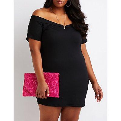 Plus Size V Off The Shoulder Dress