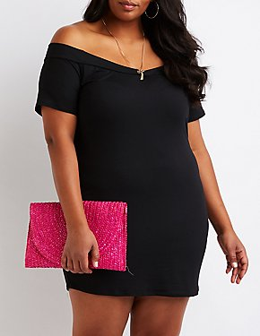 Plus Size V Off The Shoulder Dress
