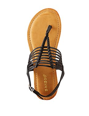 Bamboo Braided T-Strap Sandals