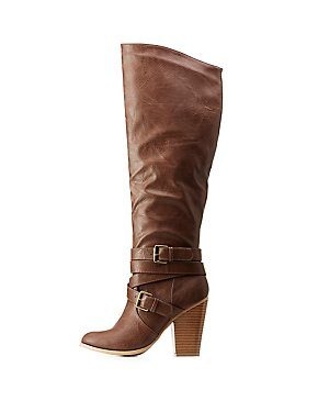Faux Leather Over-The-Knee Buckled Block Heel Booties