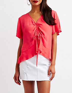 Gauze Cinched V-Neck Top