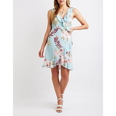 Printed Ruffle Wrap Dress
