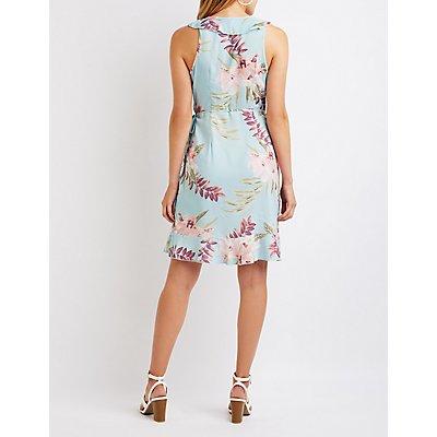 Printed Ruffle Wrap Dress
