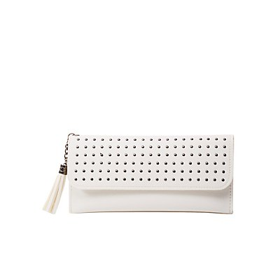 Studded Faux Leather Flap Wallet