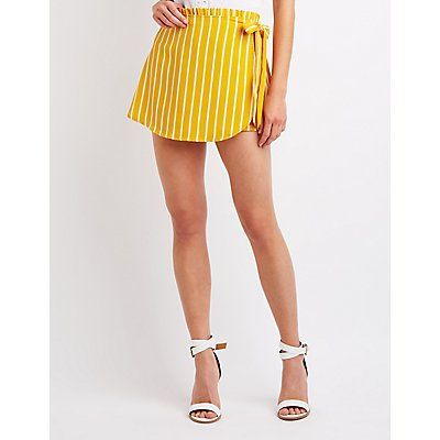 Striped Front-Tie Skort