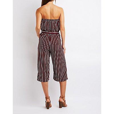 Striped Strapless Jumpsuit