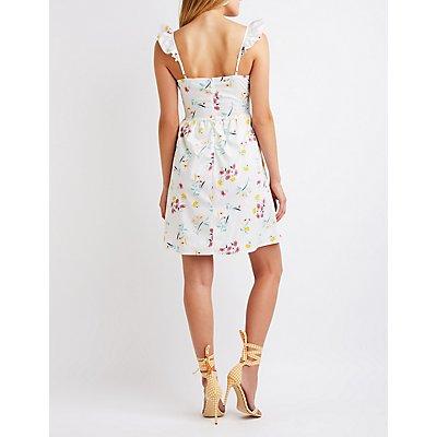 Floral Ruffle Trim Skater Dress