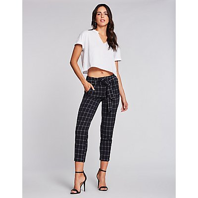 Windowpane Paperbag Trousers
