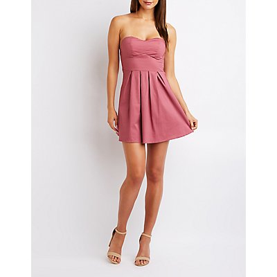 Sweetheart Smocked Back Skater Dress