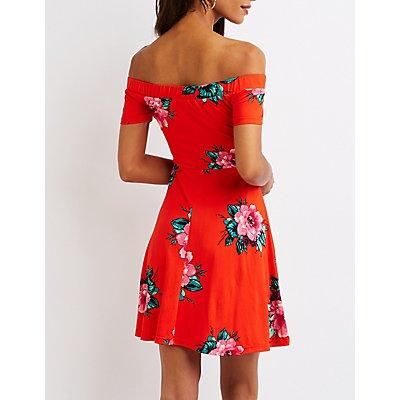 Printed Off The Shoulder Skater Dress